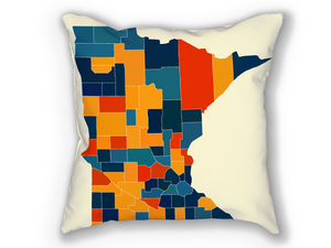 Minnesota Map Pillow - MN Map Pillow 18x18