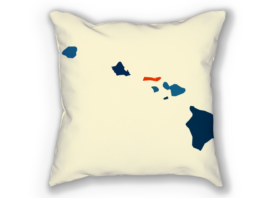 Hawaii Map Pillow - HI Map Pillow 18x18