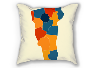 Vermont Map Pillow - VT Map Pillow 18x18