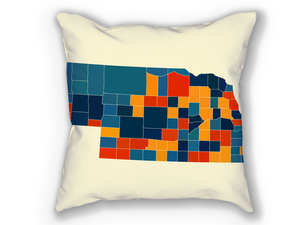 Nebraska Map Pillow - NE Map Pillow 18x18