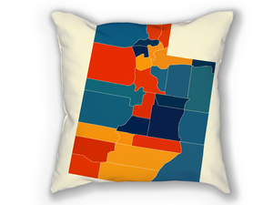 Utah Map Pillow - UT Map Pillow 18x18