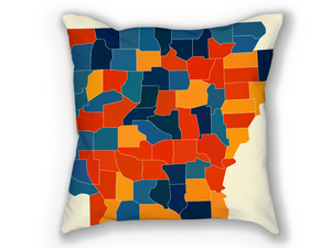 Arkansas Map Pillow - AR Map Pillow 18x18