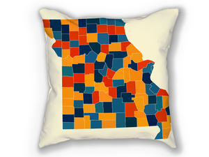 Missouri Map Pillow - MO Map Pillow 18x18