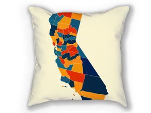 California Map Pillow - CA Map Pillow 18x18