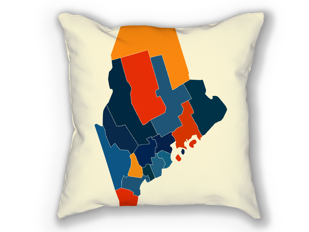 Maine Map Pillow - ME Map Pillow 18x18