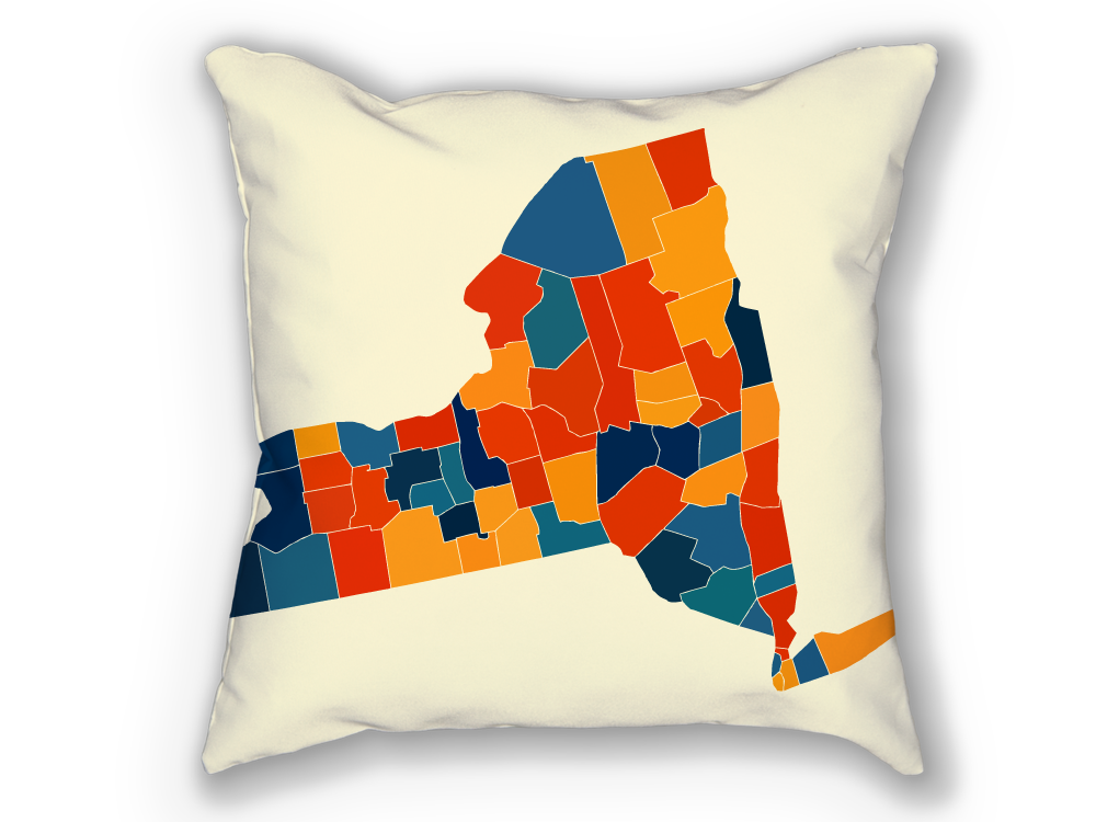 New York Map Pillow - NY Map Pillow 18x18
