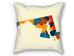 Maryland Map Pillow - MD Map Pillow 18x18