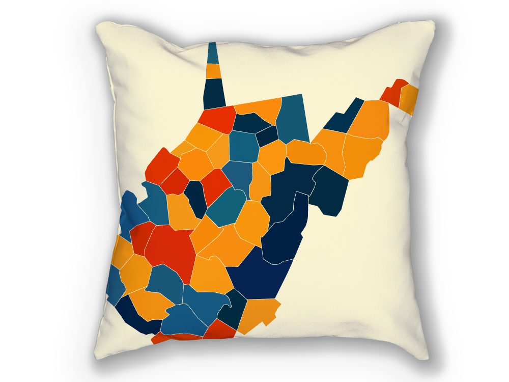 West Virginia Map Pillow - WV Map Pillow 18x18