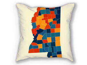 Mississippi Map Pillow - MS Map Pillow 18x18