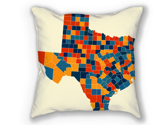 Texas Map Pillow - TX Map Pillow 18x18