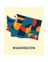 Washington Map Print - Full Color Map Poster