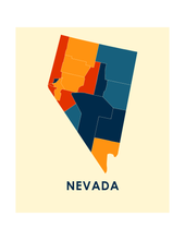 Nevada Map Print - Full Color Map Poster