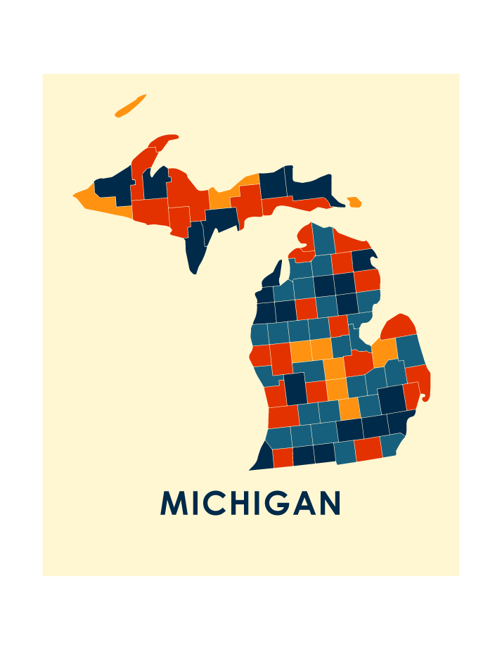 Michigan Map Print Full Color Map Poster Ilikemaps
