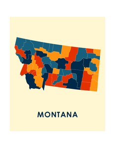 Montana Map Print - Full Color Map Poster