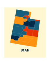 Utah Map Print - Full Color Map Poster