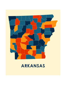 Arkansas Map Print - Full Color Map Poster