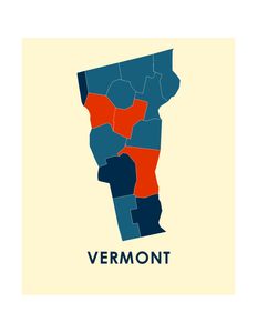 Vermont Map Print - Full Color Map Poster