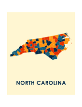 North Carolina Map Print - Full Color Map Poster