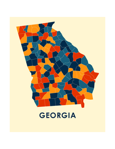 Georgia Map Print - Full Color Map Poster