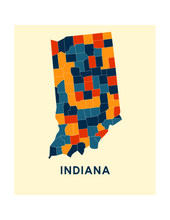 Indiana Map Print - Full Color Map Poster