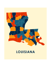 Louisiana Map Print - Full Color Map Poster