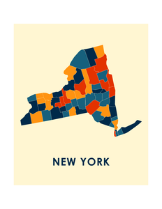 New York Map Print - Full Color Map Poster