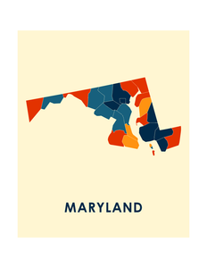 Maryland Map Print - Full Color Map Poster