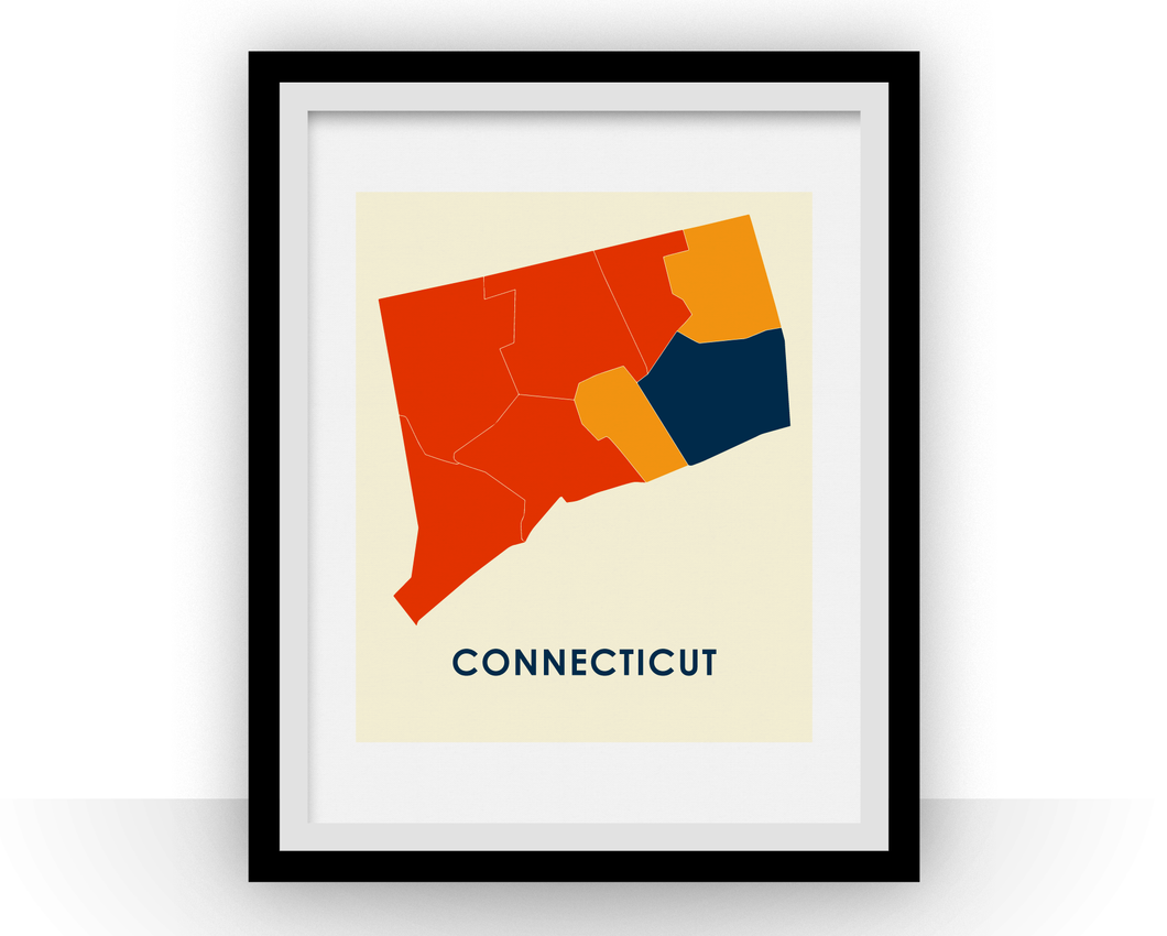 Connecticut Map Print - Full Color Map Poster