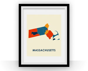 Massachusetts Map Print - Full Color Map Poster