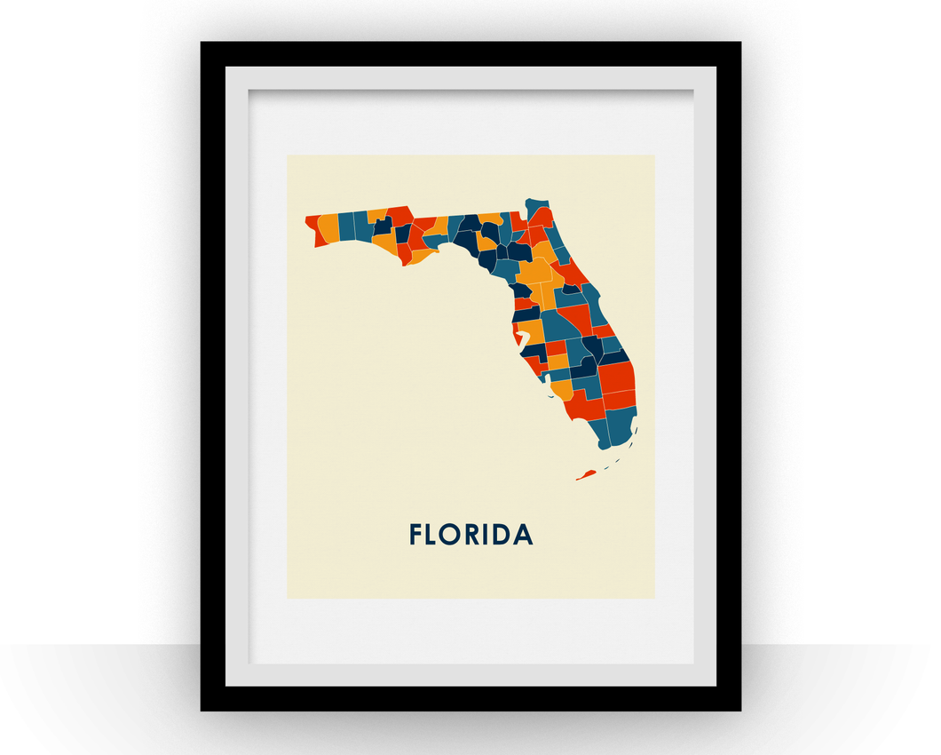 Florida Map Print - Full Color Map Poster