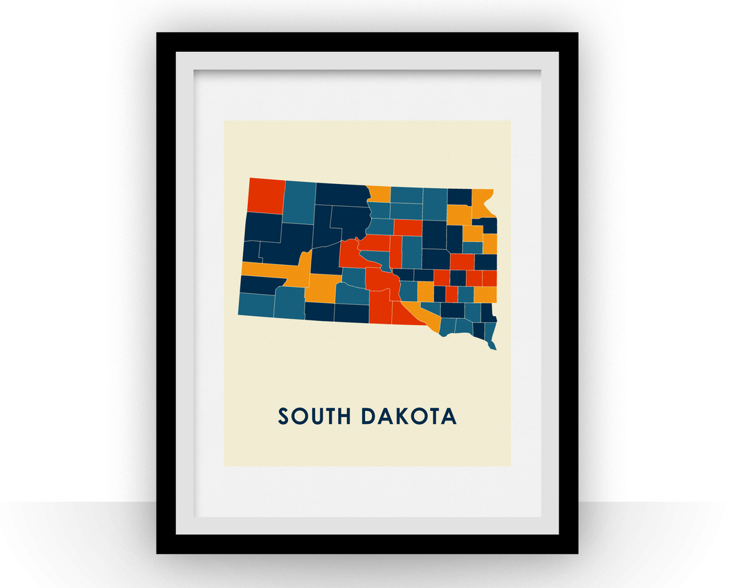 South Dakota Map Print - Full Color Map Poster