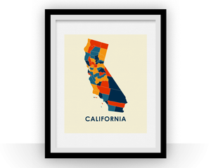 California Map Print - Full Color Map Poster