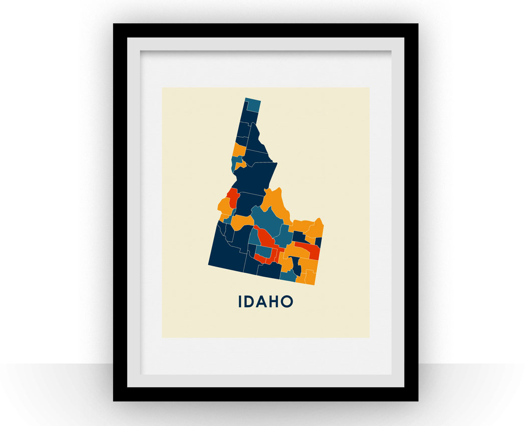 Idaho Map Print - Full Color Map Poster