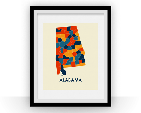Alabama Map Print - Full Color Map Poster