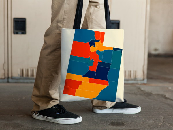Utah Map Tote Bag - UT Map Tote Bag 15x15