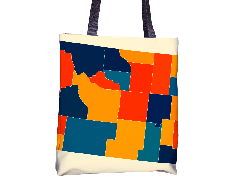 Wyoming Map Tote Bag - WY Map Tote Bag 15x15