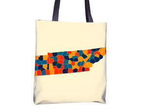 Tennessee Map Tote Bag - TN Map Tote Bag 15x15