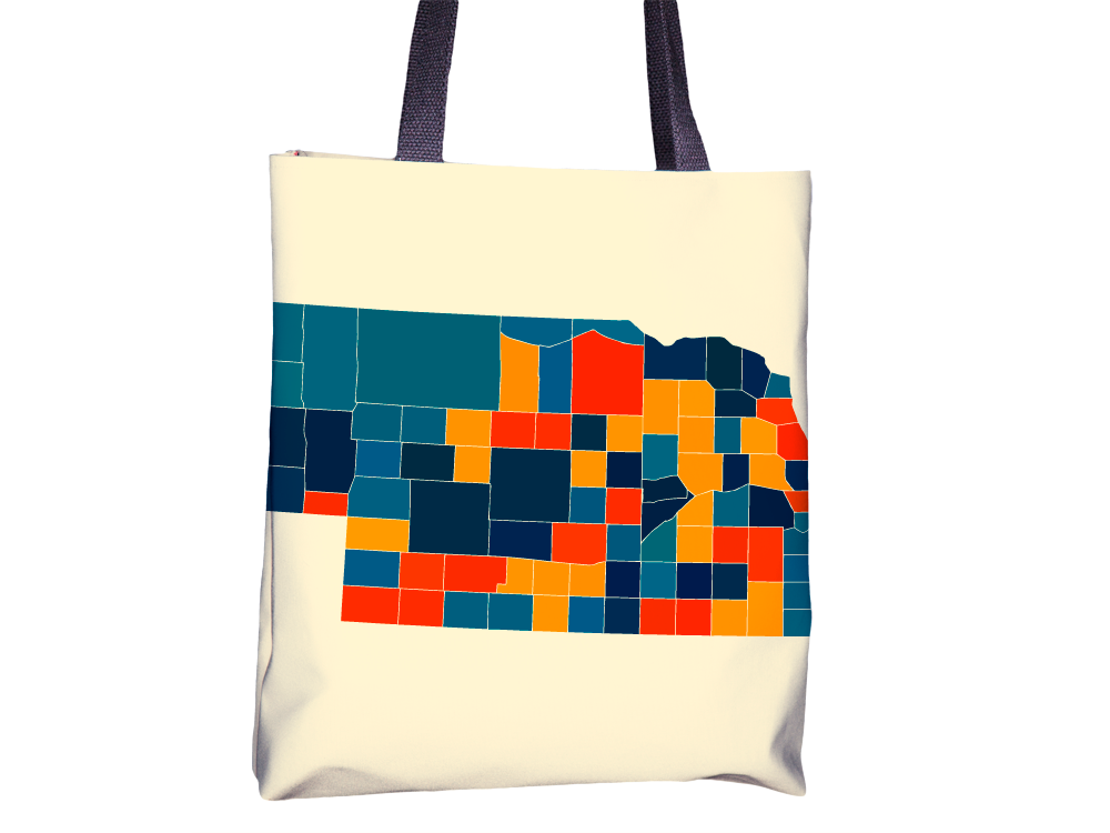 Nebraska Map Tote Bag - NE Map Tote Bag 15x15