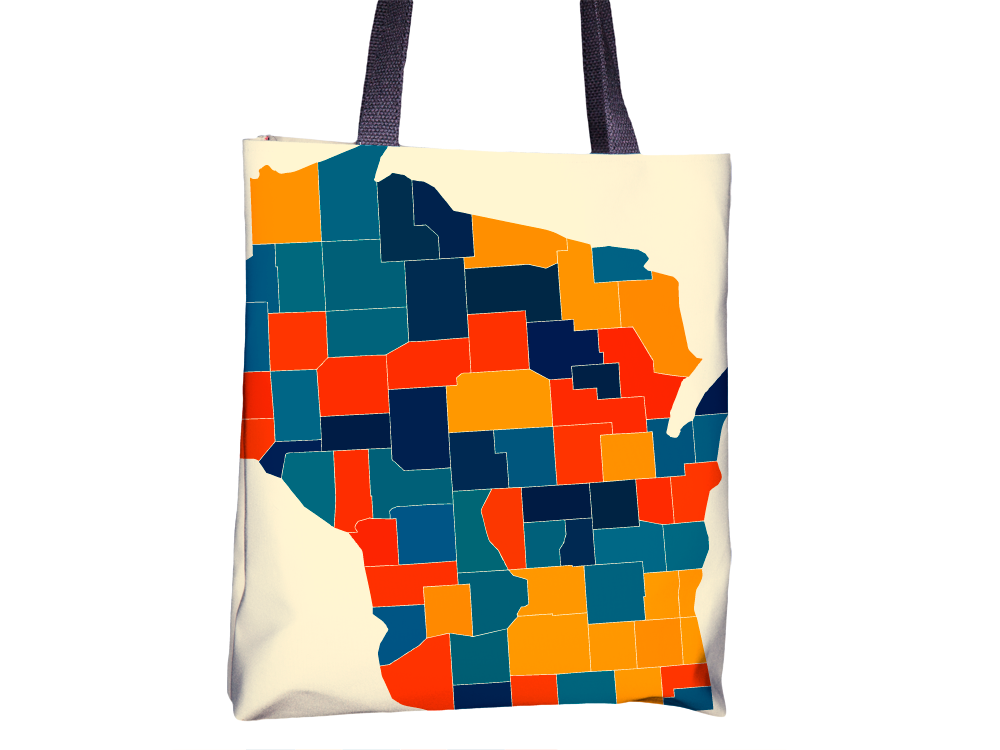 Wisconsin Map Tote Bag - WI Map Tote Bag 15x15