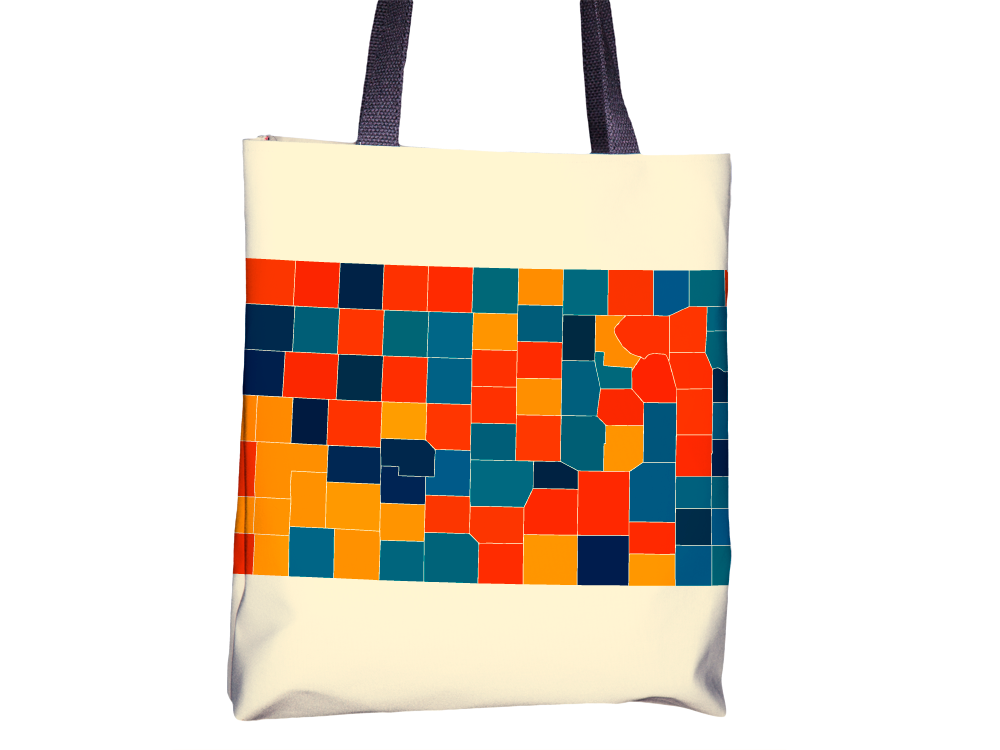 Kansas Map Tote Bag - KS Map Tote Bag 15x15