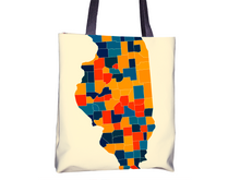Illinois Map Tote Bag - IL Map Tote Bag 15x15
