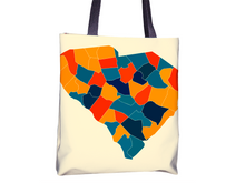 South Carolina Map Tote Bag - SC Map Tote Bag 15x15