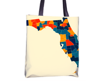Florida Map Tote Bag - FL Map Tote Bag 15x15