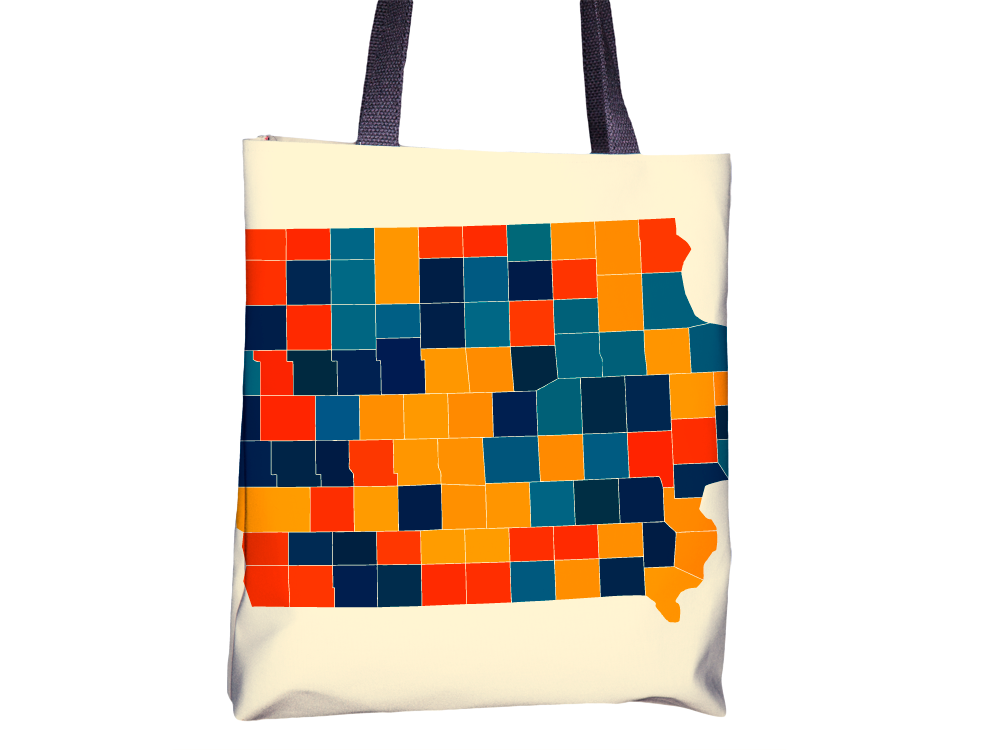 Iowa Map Tote Bag - IA Map Tote Bag 15x15