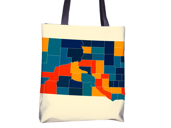South Dakota Map Tote Bag - SD Map Tote Bag 15x15