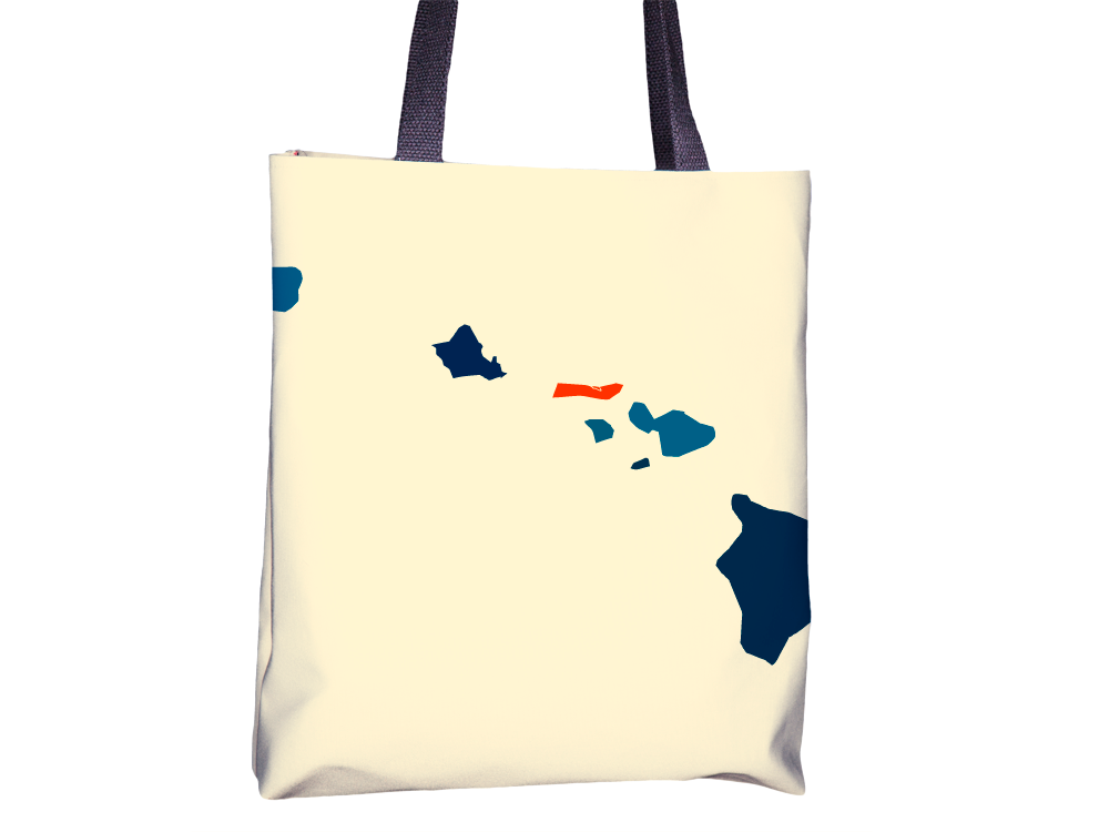 Hawaii Map Tote Bag - HI Map Tote Bag 15x15