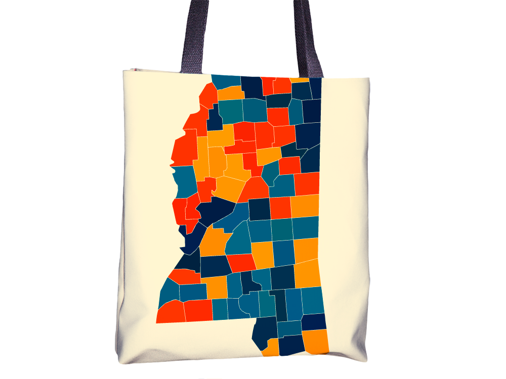 Mississippi Map Tote Bag - MS Map Tote Bag 15x15
