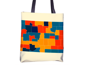 North Dakota Map Tote Bag - ND Map Tote Bag 15x15