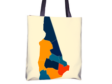 New Hampshire Map Tote Bag - NH Map Tote Bag 15x15