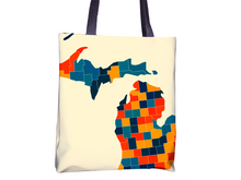 Michigan Map Tote Bag - MI Map Tote Bag 15x15